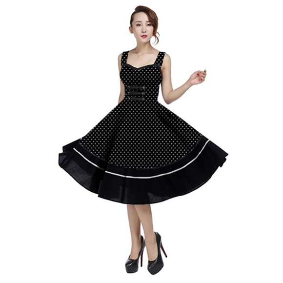 4d29378ba1edf Plus Size Polka Dot Pin Up Clothing Dress 1950s